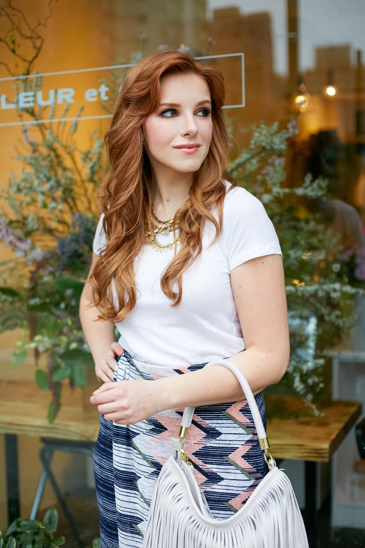 redhead wearing white tee shirt