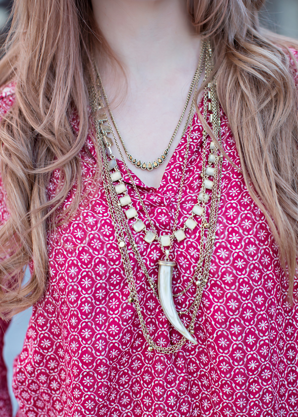 Fossil Jewelry Red Peasant Top