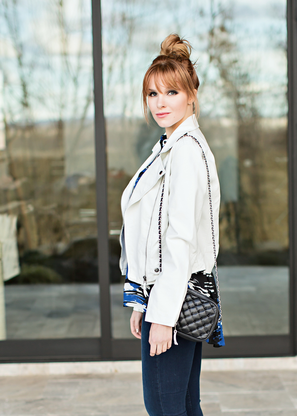 redhead fashion wearing white leather jacket