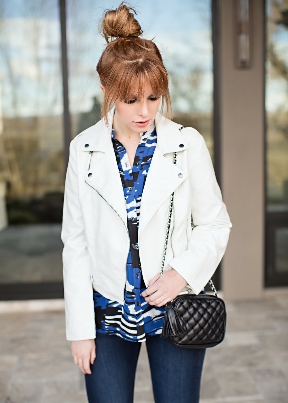 redhead fashion white leather jacket parker blouse rebecca minkoff bag