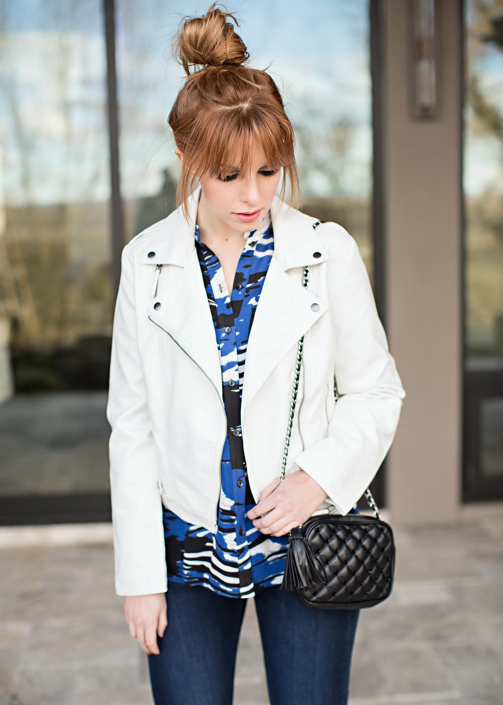 redhead fashion white leather jacket parker blouse rebecca minkoff bag
