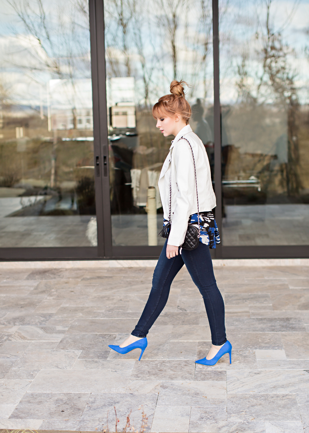white leather jacket cobalt blue heels redhead fashion