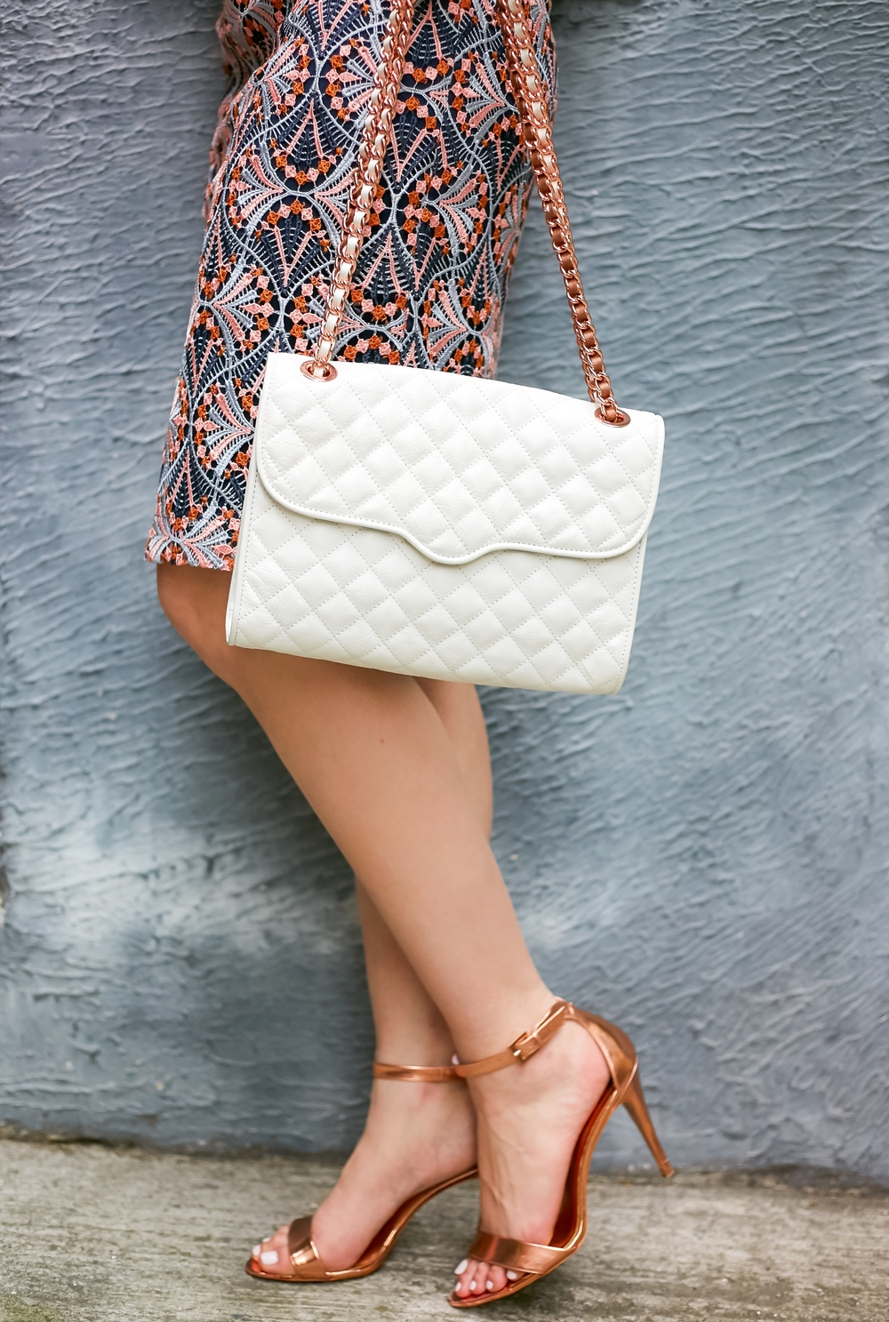 Rose gold and White Rebecca Minkoff Bag, Anthropologie skirt, Ted Baker Heels