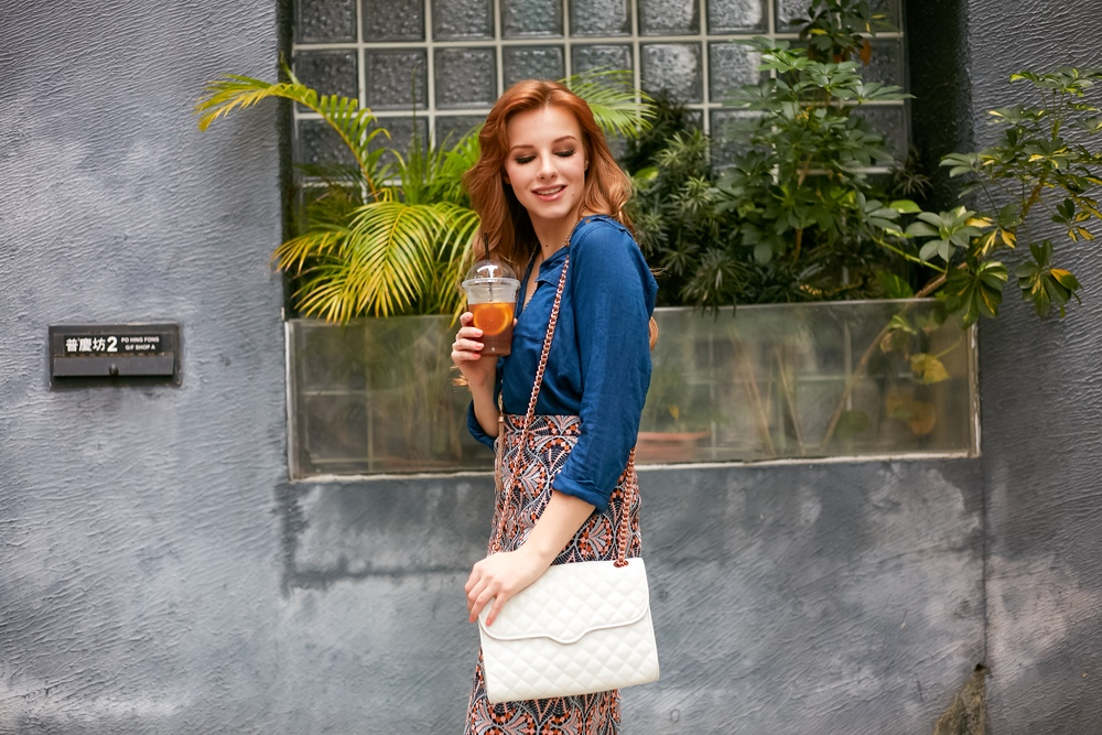 redhead fashion wearing denim shirt chambray