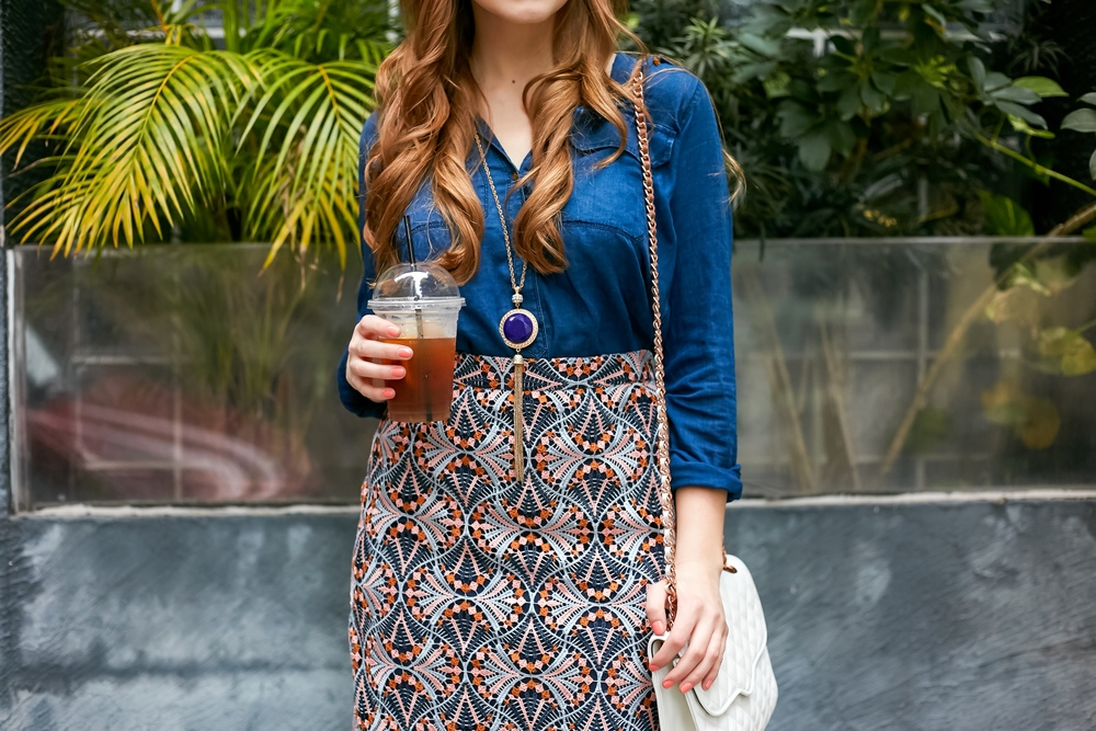 chambray shirt with embroidered skirt