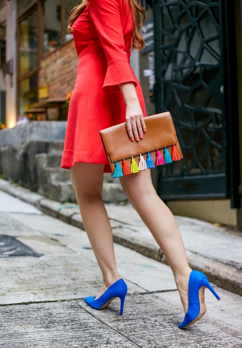 Rebecca Minkoff Colorful Tassel Bag, blue heels, red dress styling