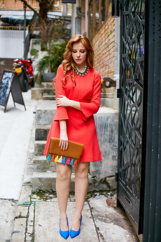 colorful styling j crew red dress blue heels redhead fashion