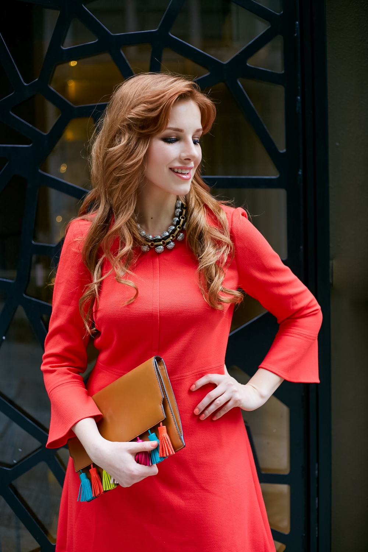 redhead fashion, style, j crew dress, red dress, j crew turoise necklace