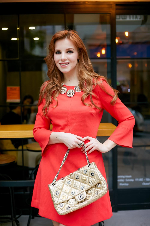 redhead fashion j crew red dress
