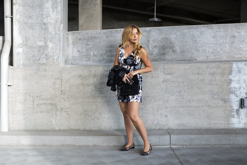 blonde girl wearing karen millen dress