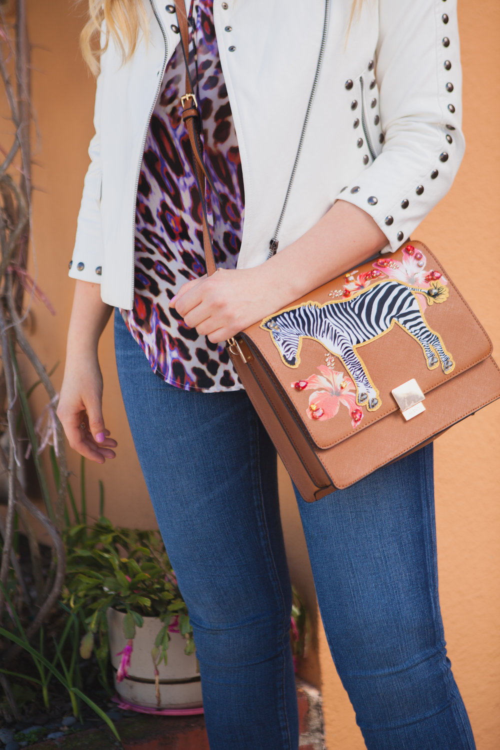 leopard top zebra bag