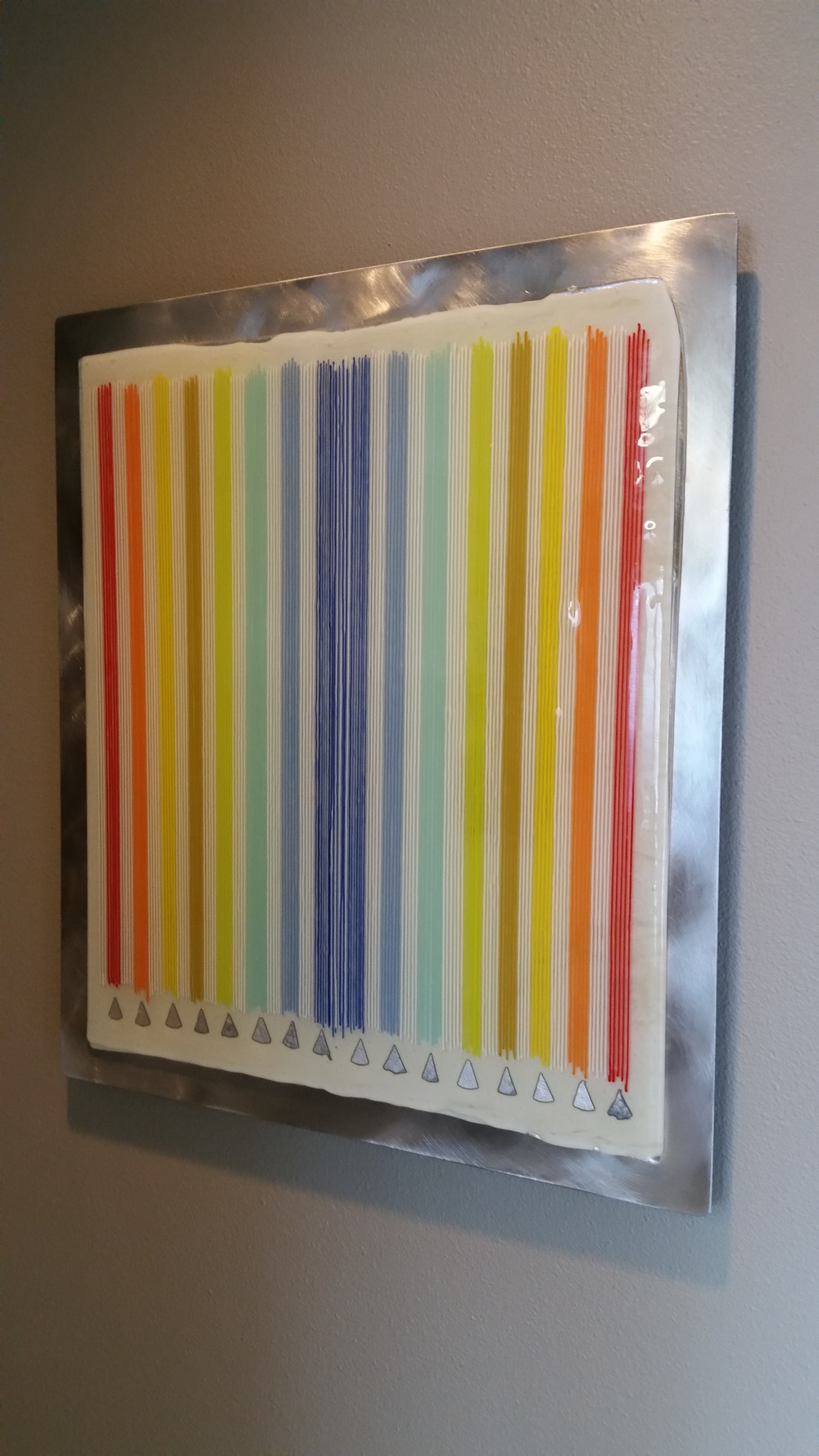 "Chromatic Celebration    17.75""x21"" fused glass with silver foil (mounted on 20""x23"" brushed aluminum.  1.25"" offset"