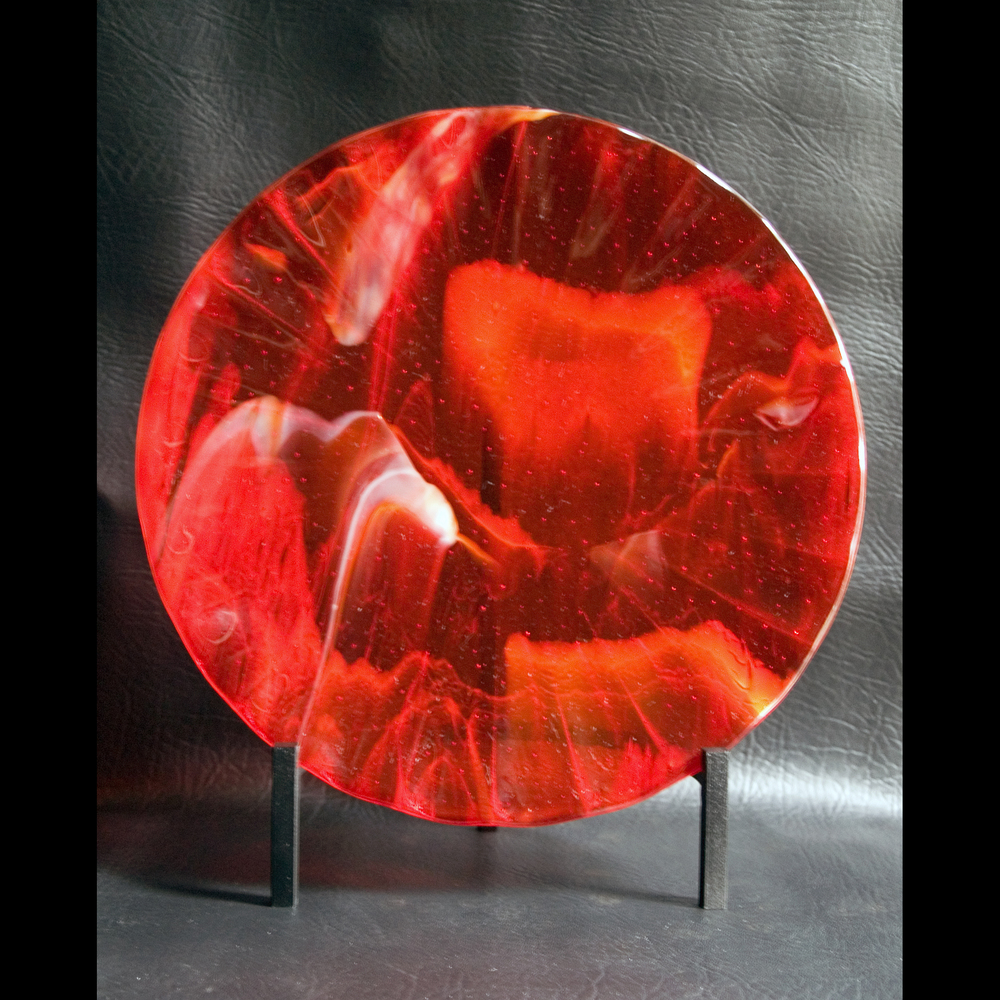 "Dante's Dimension   12"" diameter fused glass contoured plate"