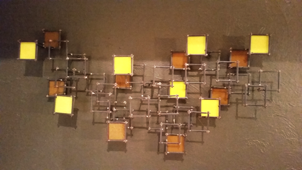 "Trending Yellow   Individual glass squares affixed to metal sculpture, 35""x16"", 3.5"" offset"