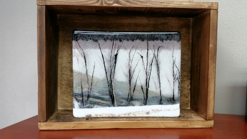 "Methow Valley Winterscape     8.25""x 10.25""x.5"" fused glass & frit, mounted in 11.5""x16""x4.5 antique barn wood box"