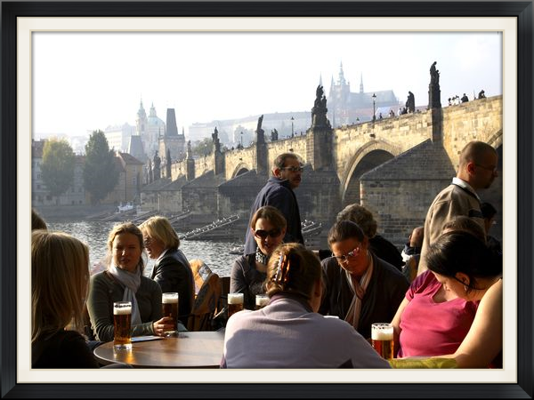 Europe Beer Tour (pictured is an outdoor bar in Prague, overlooking the Vltava Moldau River)