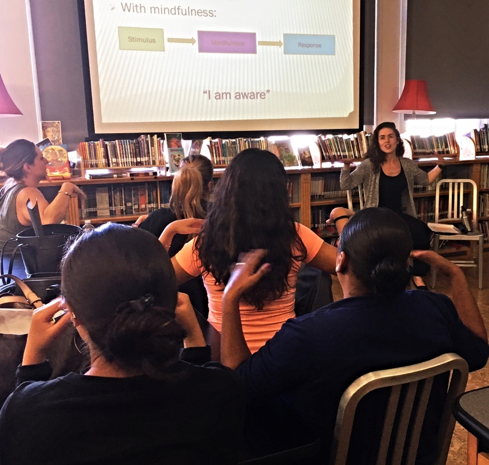 Alison leading an introductory mindfulness and mindful communication workshop for elementary school staff in Brooklyn, NY
