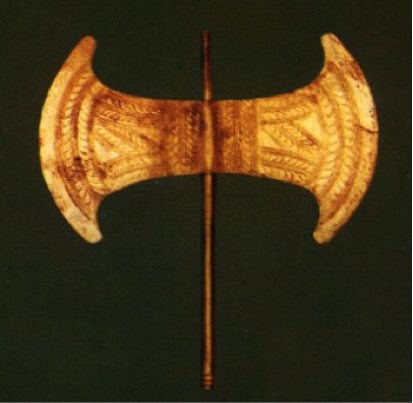 Minoan Labrys, 2nd millennium BCE. A labrys is a double-headed axe used for religious purposes, particularly for bull sacrifices. Many have been found in the sacred cave of Arkalochori on Crete.