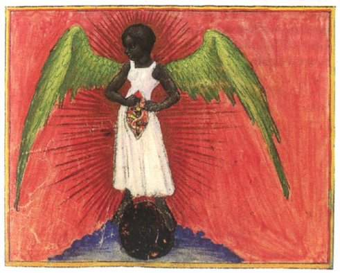 From the manuscript of Aurora Consurgens, Zentralbibliotech Zurich, MS. Rh. 172, f. 29v. Notice wound held open by the angel's own hands.