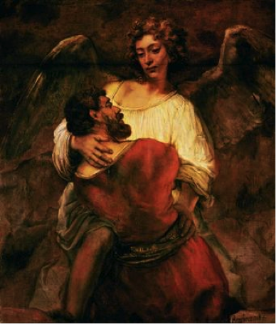 Rembrant painting of Jacob wrestling with angel, an erotic scene