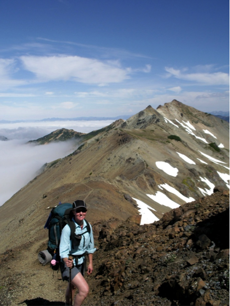 Author backpacking in the Goat Rocks Wilderness, Washington state Cascade range