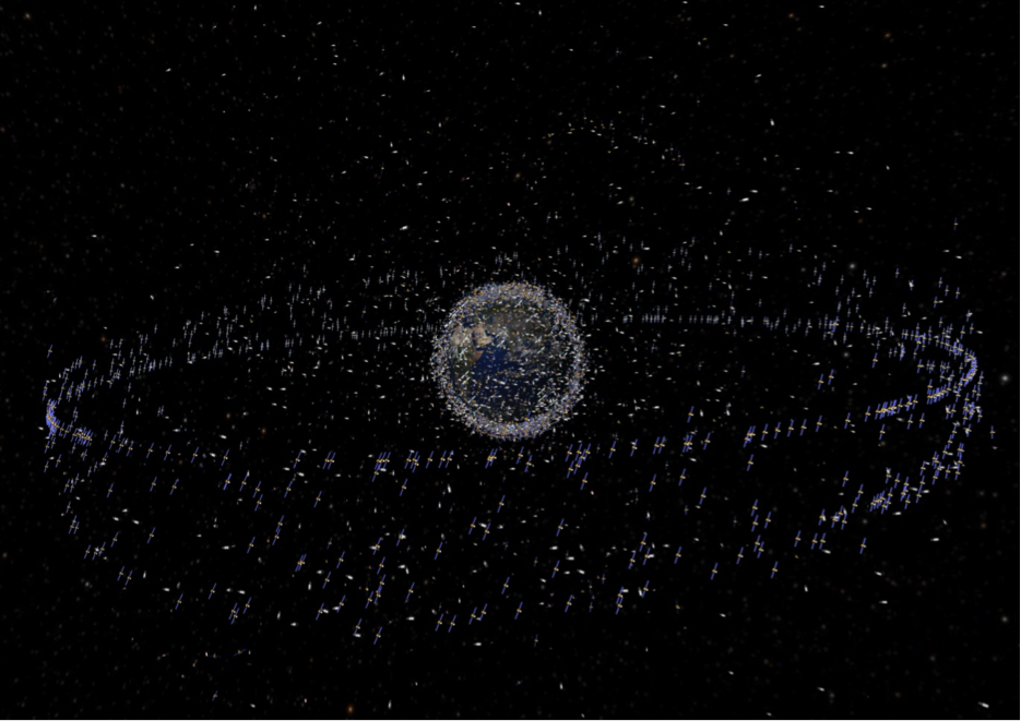 """An artist's rendering of the traceable space junk and satellites around Earth. The sizes of each piece are greatly exaggerated, but their small size doesn't make them any less dangerous to satellites or astronauts. Credit: ESA"" (Wright)."