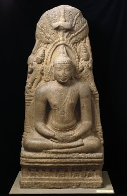 Statue of Buddha meditating under the Bodhi tree, c. 900 CE, Brooklyn Museum