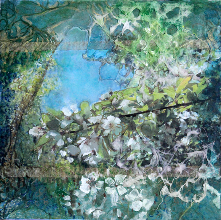 "SOMAspring III    Available in Coaster Set    mixed media on wood panel -   10"" X 10"""