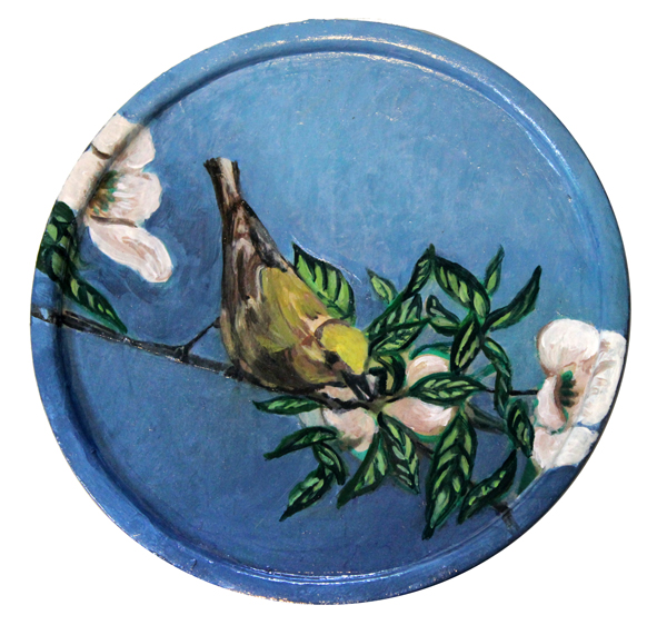 "Deco Finch I    mixed media on wooden plate,   collage, acrylic paint    6"" Dia"
