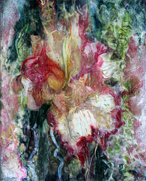 "Orchis I    Available in Coaster Set    mixed media on wood panel -   8"" X 11"""