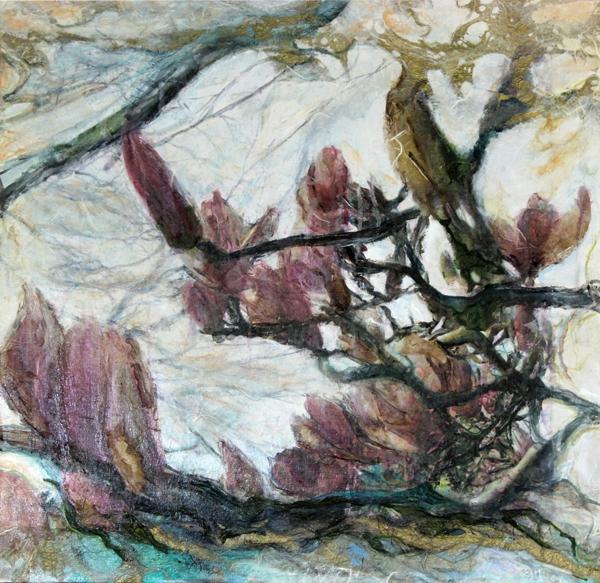 "Magnolia   mixed media on wood panel -  24"" X 24"""