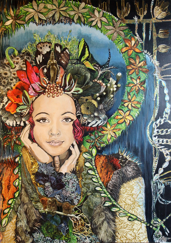 "The Girl Of All That Is  mixed media on wood panel - magazine collage, acrylic paint 20"" x 30"""