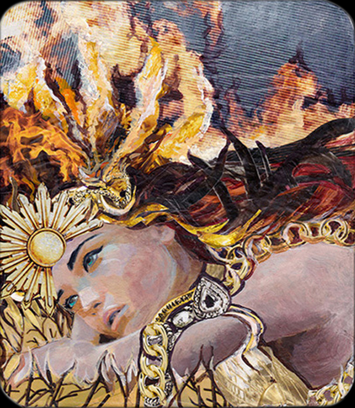 "On Fire - SOLD   mixed media on board, magazine collage, acrylic paint 7"" x 8"""