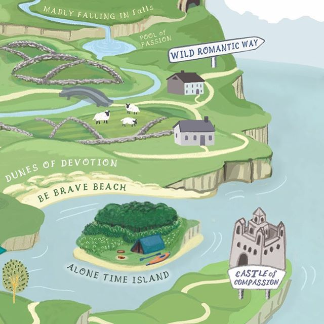 Getting close to finishing. A bit more fussing to do #heartland #maps #illustration #fanciful #childrensbookillustration #love #compassion #alonetime #Sheep #castle