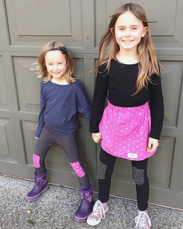 Not a photoshoot, just a coincidence these sisters walked outta the house wearing coordinating outfits thanks to #thekneepatchkit by @fortgear and a skirt by @littlelorrainecompany! 💗✖️💗✖️💗✖️. . . . . #kneepatchkit #diyfashion #accessoriesoftheday #allaboutkidsfashion #amazingkidsfashion #