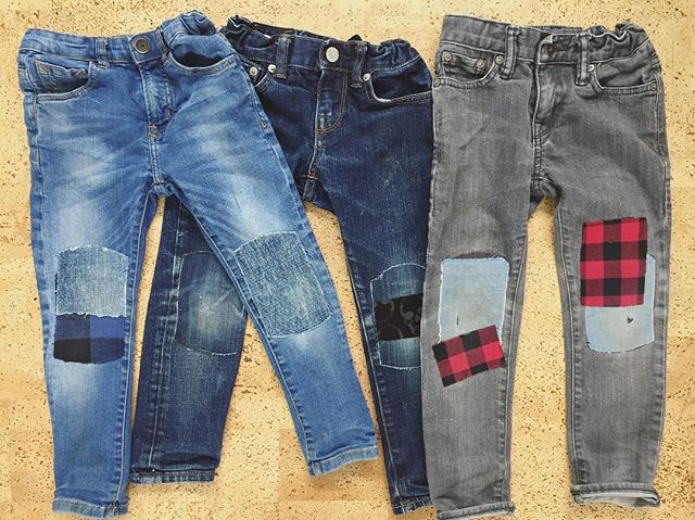 Why I patch: small sample of the jeans worn by my #6yroldboy. Most of these jeans are less than a year old but have been thrown a lifeline thanks to iron-on patching. It's become my kids' signature style thanks to #thekneepatchkit! Mix-n-match!  #kidsfashion #peelstickirondone #kneepatches #fashion #trendsetter #kidsforreal #momofthree