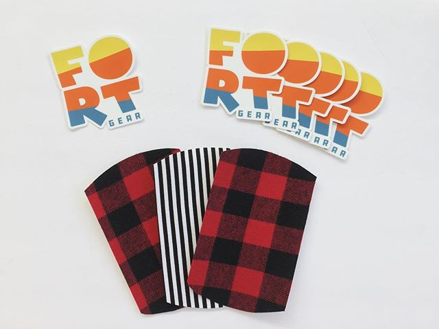 New #fortgear stickers to go with your purchase of #thekneepatchkit!! ✖️✖️✖️✖️✖️✖️✖️✖️ #kidsfashion #kneepatches #reuserecycle #upcycledclothing #fashionaccessories #hipsterkids #buffalocheck #kidswithstyle #buyhandmade