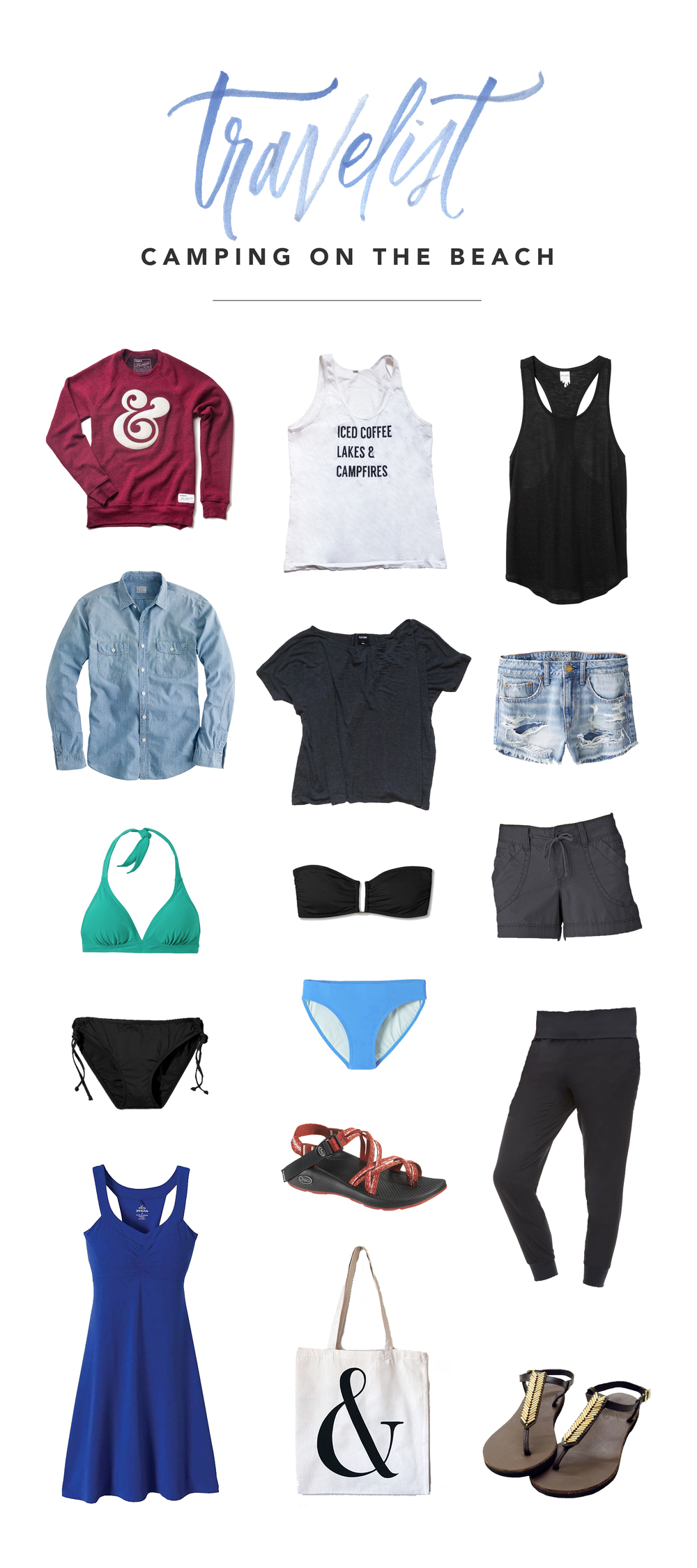 01. Ampersand Sweatshirt 02. Summer in the PNW Tank 03. Black Tank (similar) 04. Chambray button-up 05. Grey tshirt 06. Jean shorts (similar) 07. Green bikini top 08. Black bikini top 09. Grey shorts (similar) 10. Black bikini bottoms 11. Blue bikini bottoms (similar) 12. Joggers 13. Dress 14. Chacos 15. Ampersand tote (discontinued) 16. T-strap Sandals