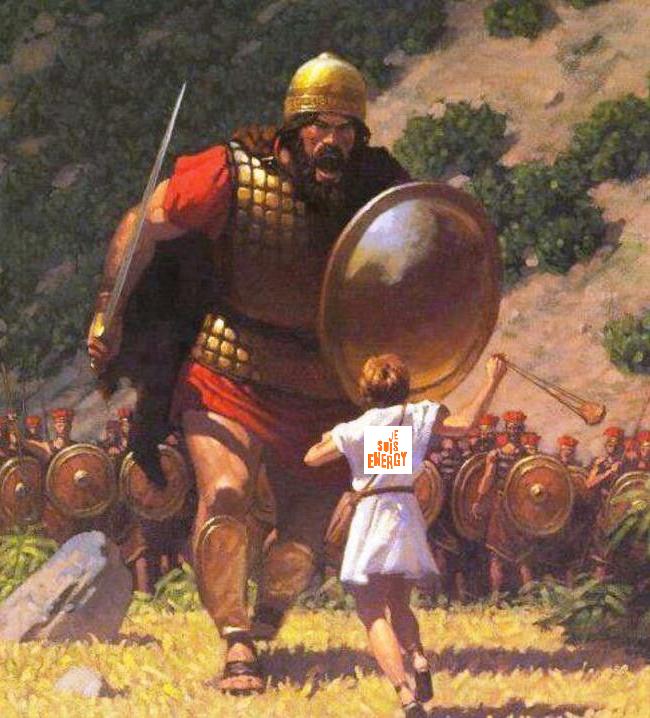 Afbeelding van Davis vs. Golitah. Mooie kuiten hoor die David. Niets mis mee.