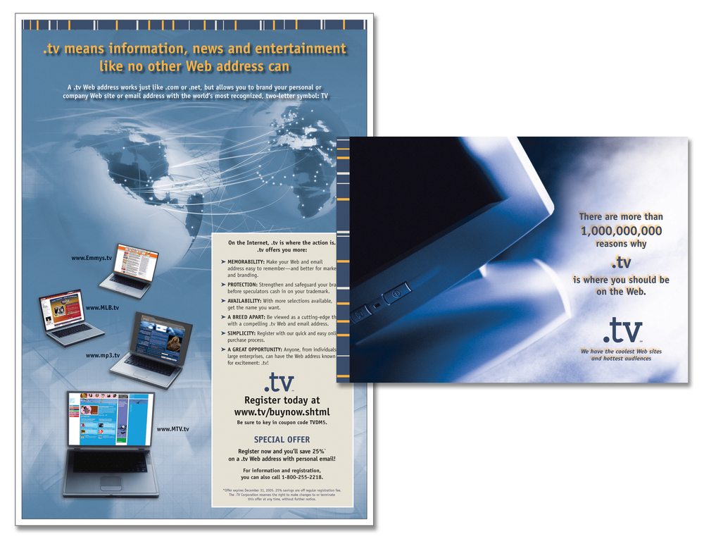 ".TV ""Where You Should Be On The Web"" Direct Mail"