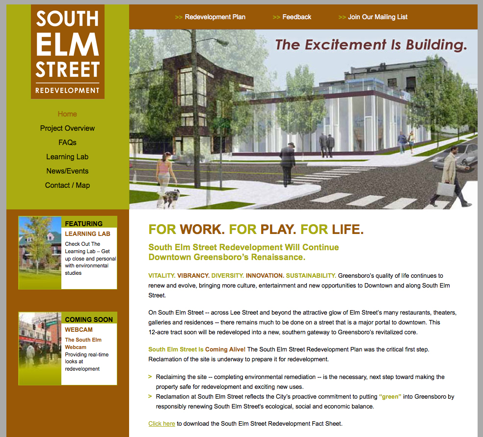 South Elm Street Redevelopment Project Website Design