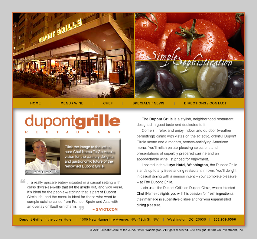 Dupont Grille Restaurant Website Design