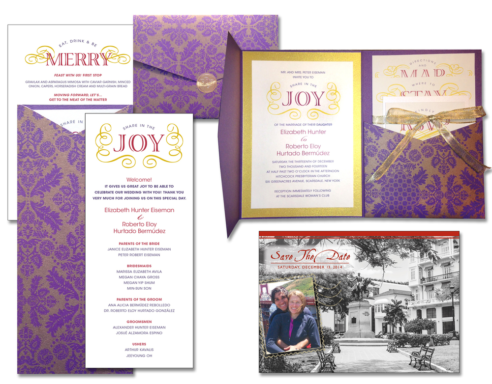 The ensemble of wedding materials included the invitation itself, the programs for the ceremony, menu cards displayed at the reception in beautiful frames, and earlier was the Save The Date Postcard. The inserts, program and menu cards were all hand-cut for accuracy and consistency.