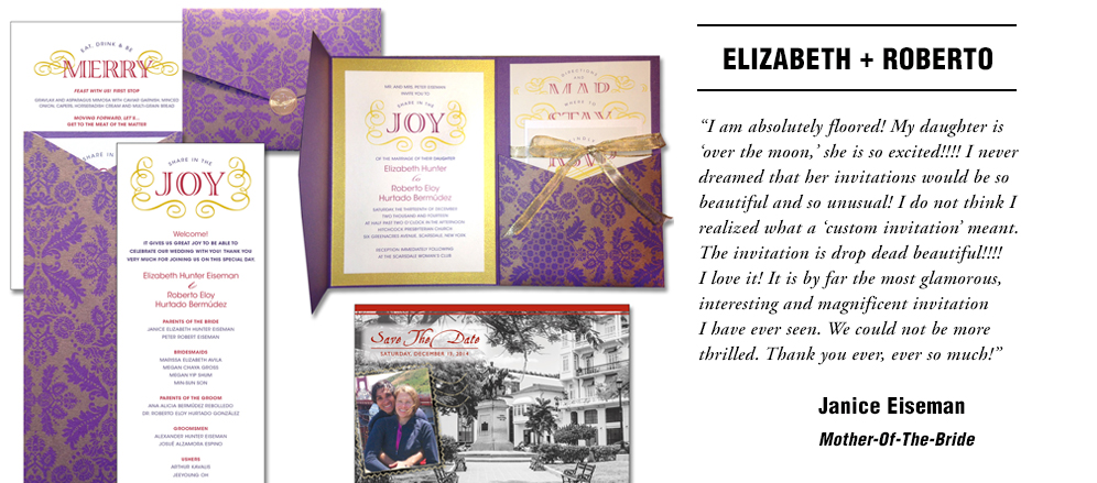 The ensemble of wedding materials included the invitation itself, the programs for the ceremony, menu cards displayed at the reception in beautiful frames, and earlier was the Save The Date Postcard. The inserts, program and menu cards were all hand-cut for accuracy and consistency. Click the image to read the original blog post about this project.