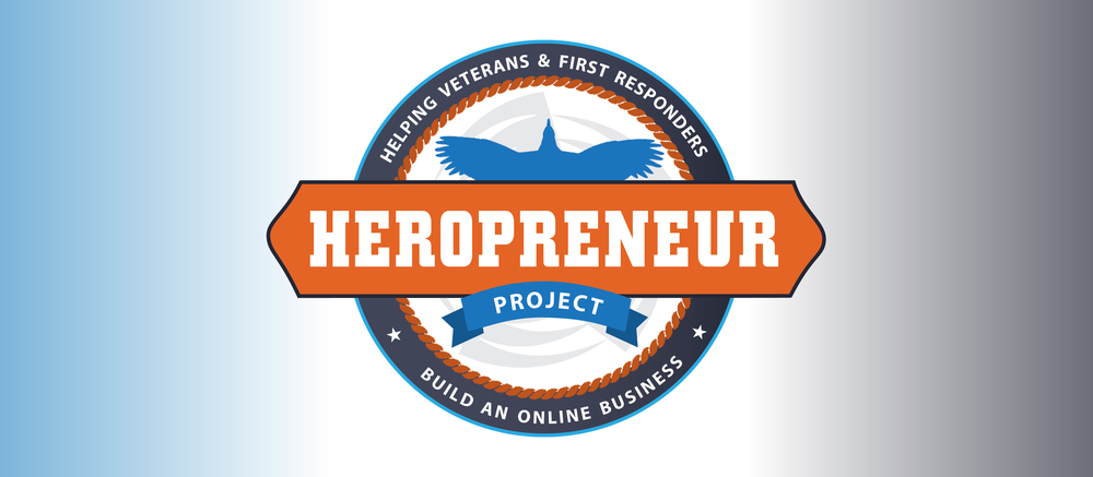 "The final colorized logo showcasing the tagline that we collaborated on: Helping Veterans & First Responders Build an Online Business. The logo is meant to look badge-like as well as reminiscent of a medal, borrowing elements from the firefighters logo. I also made sure to focus on the ""hero"" aspect with the use of a bird in flight, and added a rope accent to suggest ""first responder."" The chosen colors coordinate with DG's Second Half Comeback brand and podcast, which is his umbrella brand."