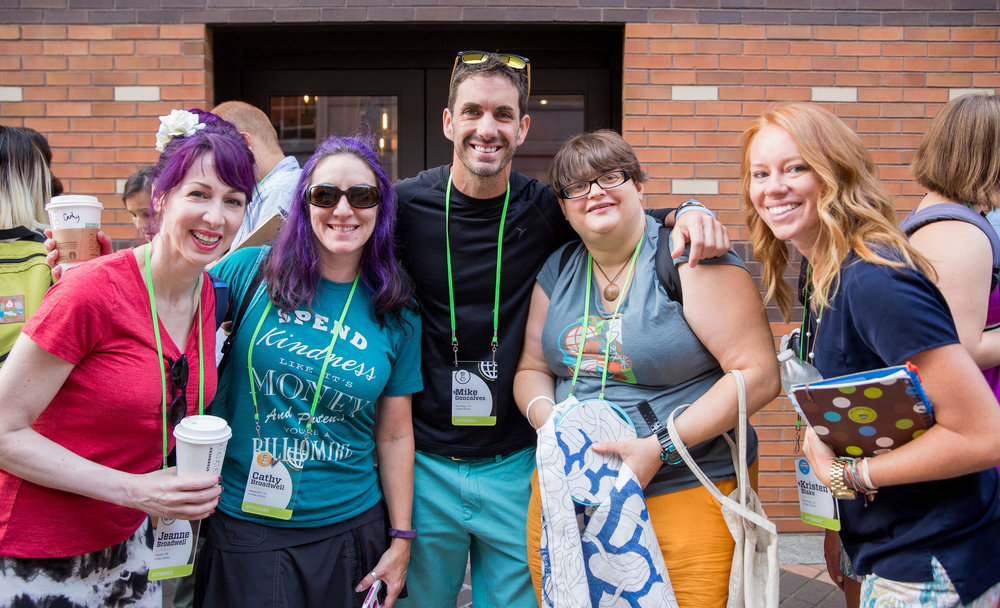 From left to right: My amazing sister Jeanne Broadwell, myself (wearing a T-shirt that I designed for Live Your Legend, Mike Goncalves (owner of the The Wellness Bucket and my client), a new friend we met in line, and the awesome Kristen Blake. Photo credit: Armosa Studios