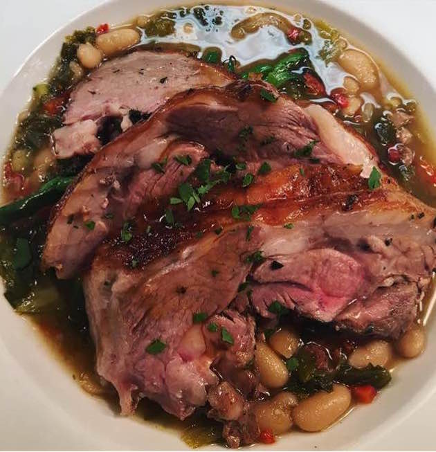 Roasted Leg of Lamb with white beans, escarole stew.jpg