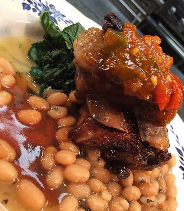 Short Ribs over White Beans, topped with pepper relish.jpg