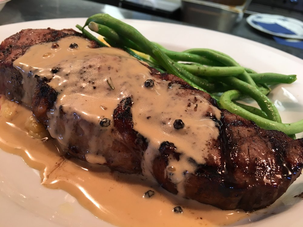 CK Strip Steak with Peppercorn Cream Sauce