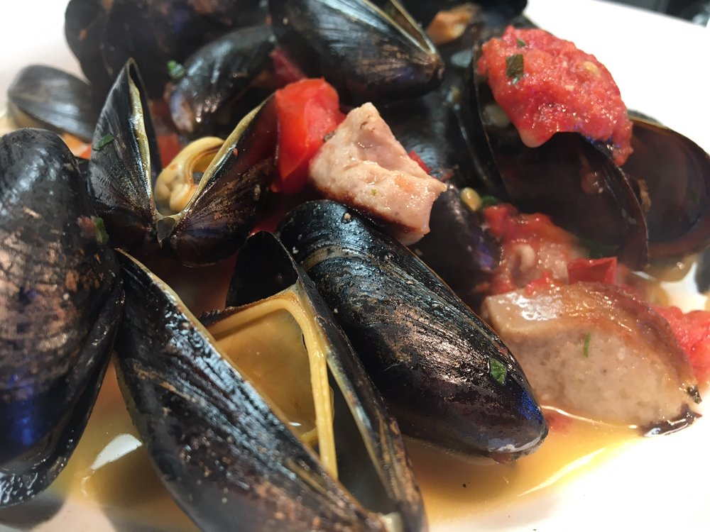 Mussels & Fries with housemade Bratwurst and a Riesling broth